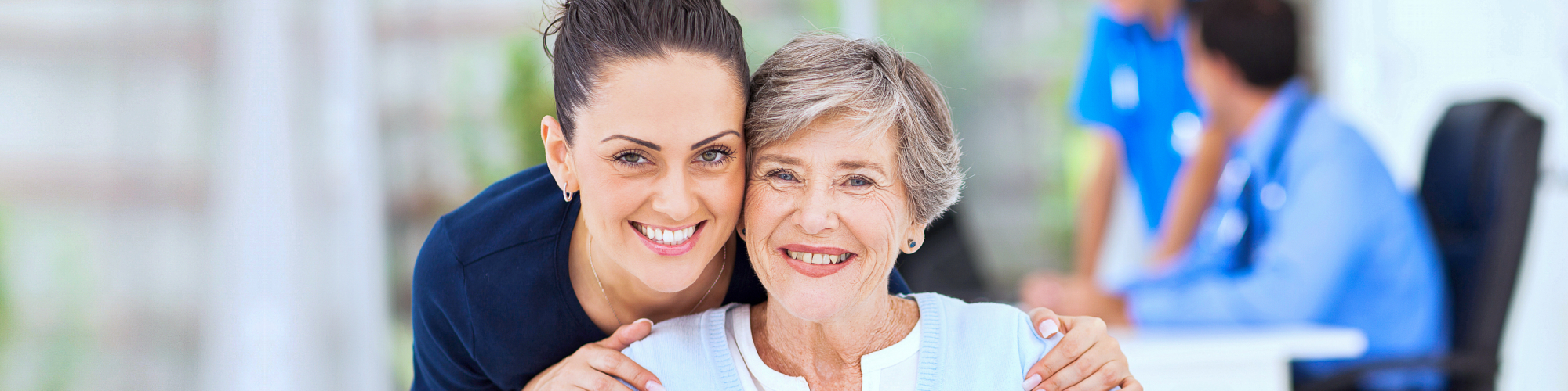 senior and woman smiling