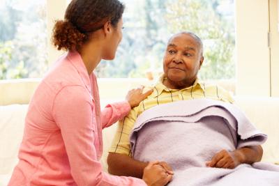 nurse looking after sick patient